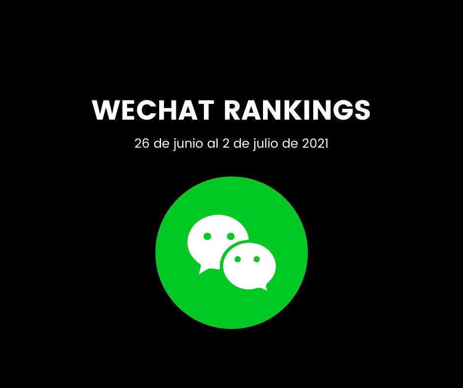 En este momento estás viendo Clasificación WeChat del 26 de junio al 2 de julio de 2021